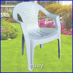 Indoor Outdoor Plastic Chairs Garden Patio Stacking Strong Armchair White Chair
