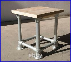 Industrie Hocker Holzstuhl für Biergarten Garten Terrasse Küche