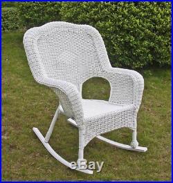 International Caravan 3182-1CH-WT Chelsea Wicker Resin Patio Rocking Chair White