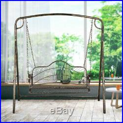 Iron Hanging Patio Porch Swing With Chain Chair Bench Seat Outdoor Deck Backyard