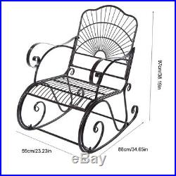 Iron Rocking Chair Porch Outdoor Outside Patio Deck Rocker Furniture Yard Garden