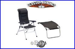 Isabella THOR CHAIR & FOOTREST Package Deal DARK GREY Lightweight Caravan Chair