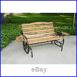 Jack Post Glider Outdoor Wood Bench Patio Rocker Chair Seat Tray Porch Furniture