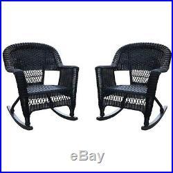 Jeco Wicker Rocker Chair in Black (Set of 2) Transitional Outdoor Rocking