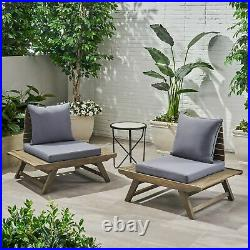 Kailee Outdoor Wooden Club Chairs with Cushions (Set of 2), Dark Gray and Gray F