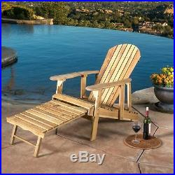 Katherine Outdoor Reclining Wood Adirondack Chair with Footrest
