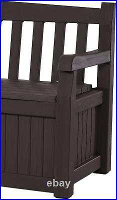 Keter Eden 70 Gallon Storage Bench Deck Box for Patio Furniture, Front Porch Dec