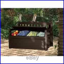 Keter Eden Outdoor Seating Storage Box 70 Gal Patio Deck Bench Waterproof Brown