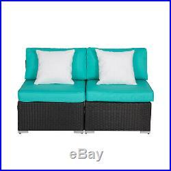 Kinbor 2 PCs Patio Rattan Sofa Set Wicker Armless Combined Furniture Turquoise