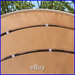 LAIHANA Patio Round Rattan Daybed Sofa Retractable Canopy Garden Outdoor Sunbed