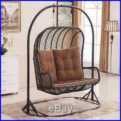 LARGE Double Egg Chair Swing Wicker Rattan Hanging Garden Patio Indoor/Outdoor