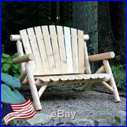 Lakeland Mills 4 ft. White Cedar Log Loveseat Bench, Natural