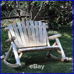 Lakeland Mills Classic White Cedar Log Rocking Loveseat Bench, Natural