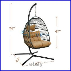Large Hanging Hammock Swing Chair 2Person Outdoor Patio with Steel Stand Cushion