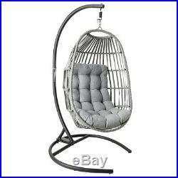 Large Hanging Swing Egg Chair Wicker Hammock Chair Thicken Cushion Patio Garden