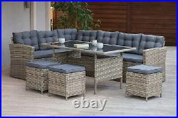 Large Luxry Rattan Garden Patio Furniture Set With Corner Sofa Tabel Stool