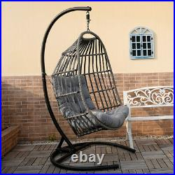 Large Size Hanging Swing Chair Wicker Hammock Egg Chair with Padded Cushion Seat