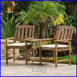 Las Brisas Outdoor Wood Adjoining 2-Seater Chairs with Cushions