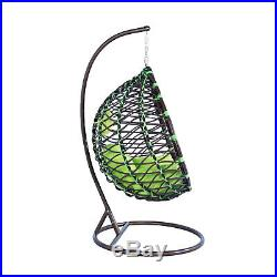 LeisureMod Outdoor Patio Wicker Hanging Egg Swing Chair With Stand in Green