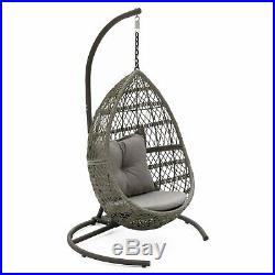 Light Gray Teardrop Hanging Egg Chair Patio Swing Outdoor Home Furniture Stand