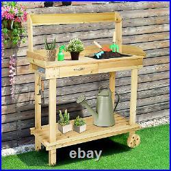Livebest Garden Potting Bench Wooden Table Planting Tool Storage Workstation