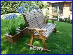 Luxury Rocker Rocking Garden Bench Wooden Seat Chair Patio Set Treated Assembled