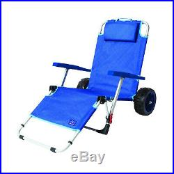 Mac Sport 2-in-1 Beach Day Folding Lounger Chair & Wagon Cart with Lock, Blue