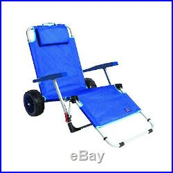 Mac Sport Beach Day Folding Lounger Chair & Wagon Cart with Lock, Blue (Open Box)