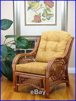Malibu Rattan Wicker Lounge Chair with Thick Light Brown Cushion, Handmade Design