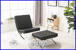 Mcombo Premium Barcelona Style Modern Lounge Leather Chair Ottoman (optional)