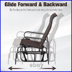 Mesh Glider Swing Chair Rocking Seat Garden Yard Porch Brown