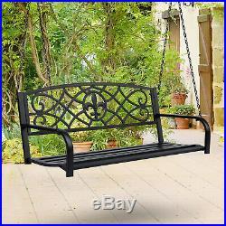 Metal Porch Swing Chair Hanging Bench Chair Fleur-De-Lis Design Yard Deck