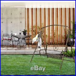 Metal Porch Swing Chair Set Hanging Bench Chair + Frame Fleur-De-Lis Design Yard