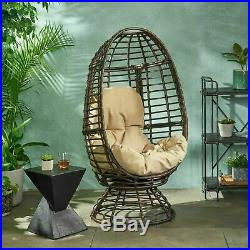 Mylen Outdoor Wicker Swivel Egg Chair with Cushion