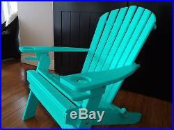 NEW DELUXE 7 SLAT Poly Lumber Wood Folding Adirondack Chair ARUBA BLUE