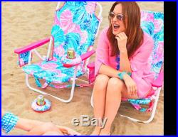 NEW in BOX Lilly Pulitzer 2 PCS SET Beach CHAIRS Chair BEACH PLEASE Pink Blue