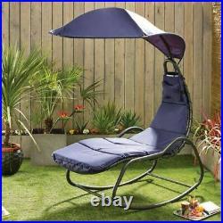 Navy Blue Helicopter Garden Chair Rocking Hammock Sun Lounger & Canopy Brand New