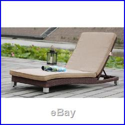 New! Adjustable Rattan Lounge Chair With Cushions Brown Wicker Outdoor Lounger