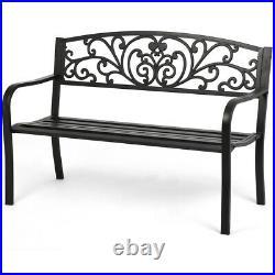 New Patio Park Garden Bench Porch Path Chair Outdoor Deck Steel Frame New I50