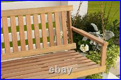 OUTDOOR PORCH PATIO SWING Cypress Wood Natural Finish Frame Steel Chains