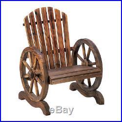 Old Country Wood Wagon Wheel Chair Outdoor Garden Decor