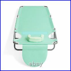 Ostrich Chaise Lounge Folding Portable Sunbathing Poolside Beach Chair, Teal