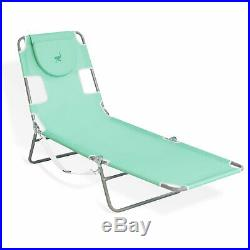Ostrich Outdoor Folding Adjustable Recliner Chaise Lounge Beach Pool Chair, Teal