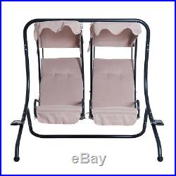 Outdoor 2 Person Patio Swing Chair Steel Hanging Seat with Canopy Porch Deck