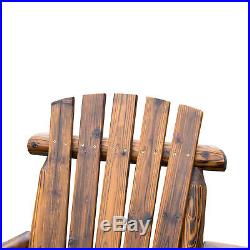 Outdoor 2 Seat Double Adirondack Wood Bench Chair with Ice Bucket Carbonized Brown