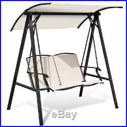 Outdoor 2-Seat Swing Loveseat with Canopy Patio Porch Steel Hanging Swing Beige