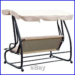 Outdoor 3-Person Patio Porch Swing Hammock Bench Canopy Loveseat Convertible Bed