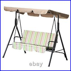 Outdoor 3-person Metal Porch Swing Chair Bench Canopy