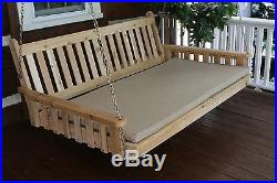 Outdoor 5' Traditional English Swing Bed Unfinished Pine Oversized Porch Swing