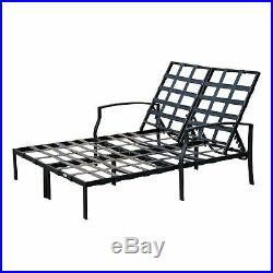 Outdoor Adjustable Patio Double Chaise 2-Seat Lounge Cushioned Chair Pool Garden